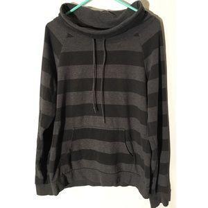Roxy gray and black striped boat-neck sweater L